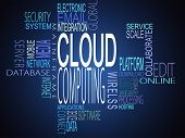 stock photo of mainframe  - Cloud computing terms together on blue background - JPG