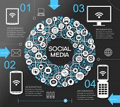 stock photo of gear  - A modern set of infographics and icons Social Media - JPG