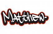 Matthew graffiti font style name. Hip-hop design template for t-shirt, sticker or badge