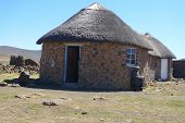 Traditional style of housing in Lesotho at Sani Pass at altitude of 2 874m