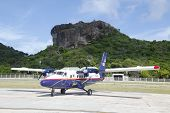 Winair DHC-6 aircraft ready to take off at St Barts airport