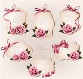 Set of beautiful retro labels with pink rose and gift bows. Vector illustration.