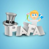 Concept for Happy Fathers Day celebration with 3D text Papa and little boy holding gift box and flowers on blue background.