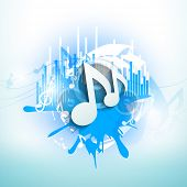 Musical notes on blue grungy background.