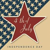 Vintage 4th of July, American Independence Day background with star.