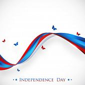 4th of July, American Independence Day concept with national flag colors waves and flying butterflie