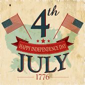 Vintage flyer, poster or background for  American Independence day with text 4th July 1776.