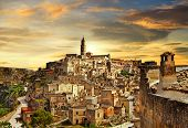 beautiful Matera on sunset - ancient city of Italy