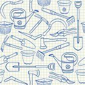 Gardening Tools Seamlesss Pattern
