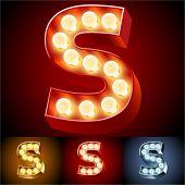 Vector illustration of realistic old lamp alphabet for light board. Red Gold and Silver options. Letter S