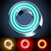 Vector illustration of realistic neon tube alphabet for light board. Gold and Silver and Red options. Letter O