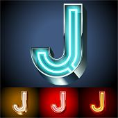 Vector illustration of realistic neon tube alphabet for light board. Gold and Silver and Red options. Letter J