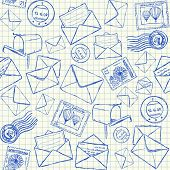 pic of mailbox  - Illustration of mail doodles on squared school paper seamless pattern - JPG