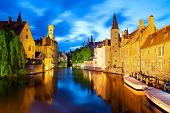 Night view of canal in Bruges World Heritage Site of UNESCO