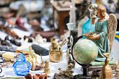 Close up details of flea market stall in Bruges, Belgium