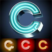 Vector illustration of realistic neon tube alphabet for light board. Gold and Silver and Red options. Letter C