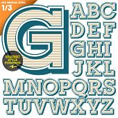 Vector illustration of an old fashioned alphabet. Vintage style. Beveled Ultra