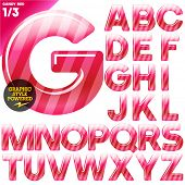 Vector illustration of Multicolor children's candy alphabet. Red edition