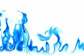 Blue Fire On A White Background