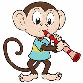 picture of clarinet  - Cartoon monkey playing a clarinet - JPG