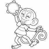 Cartoon Monkey Playing A Tambourine