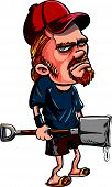 foto of redneck  - Redneck spade killer holding a bloody spade - JPG