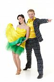 stock photo of jive  - Dancing young couple on a white background - JPG