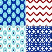 Set of blue and red ikat geometric seamless patterns backgrounds