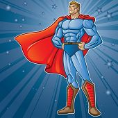 Generic superhero figure standing proud.  Layered & easy to edit. See portfolio for simular images.