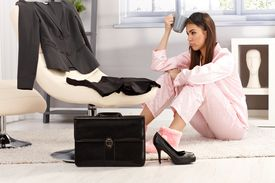picture of pyjama  - Tired woman getting ready for business work - JPG