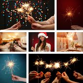 Collage of beautiful girl and sparkler in hands