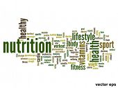 Vector eps concept or conceptual abstract nutrition word cloud or wordcloud on white background