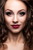 Fashion Beauty Portrait Of Beautiful Girl With Professional Make Up