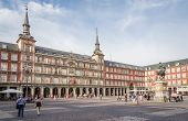 Central square of Plaza Mayor, in Madrid, Spain