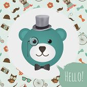 Hipster Bear Head Card vector illustration