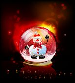 Christmas ball with Snowman, realistic vector template