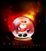 Christmas ball with Santa, realistic vector template