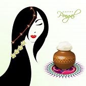 Illustration of a beautiful woman with pongal rice in a traditional mud pot on floral design called