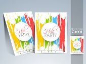 Indian color festival Holi greeting card with colorful text Holi Party on colors splash background.