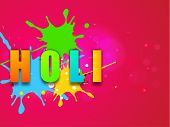 Indian color festival Holi celebration background with colorful stylish text on grungy colors background.