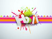 Indian festival Happy Holi celebration concept with stylish text Holi on colorful splash background.