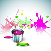 Indian festival Happy Holi celebration concept, bucket with full of colors, pichkari on colors splas