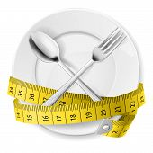 stock photo of measurements  - Plate with measuring tape and crossed fok and spoon - JPG