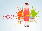 Indian festival Happy Holi celebration concept with boy playing colors, pichkari and color buckets.