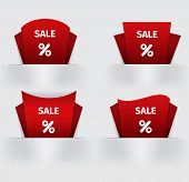 set of red Sale percent sticker price tag