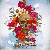 foto of skull  - Skull and Flowers Day of The Dead - JPG