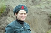 KIEV, UKRAINE -NOV 3: An unidentified member of Red Star history club wears historical Italian uniform during historical reenactment of WWII, Battle for Kiev 1943 on November 3, 2013 in Kiev, Ukraine