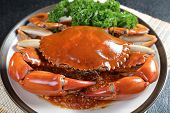 pic of exoskeleton  - Close up Singapore chili mud crab in restaurant - JPG