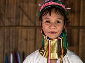 Karen Long Neck Woman in Hill Tribe Village