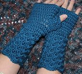 Teal Blue Crochet Fingerless Glove Mittens